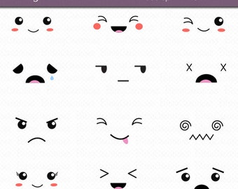 Kawaii Faces Digital Art Set Clipart Commercial Use Clip Art INSTANT DOWNLOAD