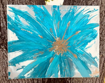 Gold /Teal Abstract Flower