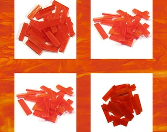 Bright Orange Borders Stained Glass Mosaic Tiles Hand Cut Wispy Rectangles