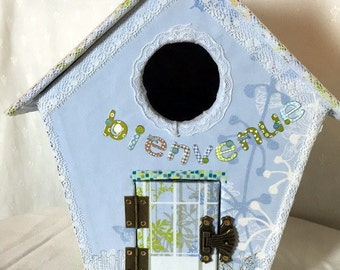 House of bird hand made - gift personalized child - decorative Nesting box paperboard - boarding - cardboard box - Moneybox