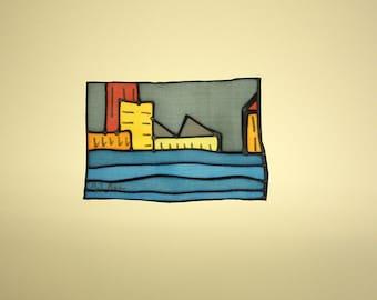 LIVRAISON gratuite soie peinture - peinture originale - peinture sur soie peinture sur soie - peinture à la main - ville - 16 x 11 cm