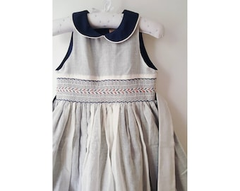 Dress smocked FANNI cotton, girl, grey and Navy Blue, sleeveless, embroidery handmade, special occasion dress, summer dress