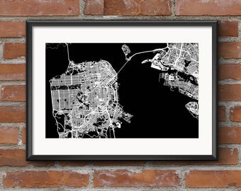 San Francisco Map Art Print – Dark / San Francisco Map | San Francisco Art | San Francisco Print | San Fran Map | SF Map | Bay Area Map