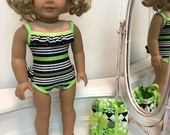 NEW! One-piece top and bottom ruffled Swimsuit/ beach bag and sandals made to fit 18 inch dolls such as American Girl