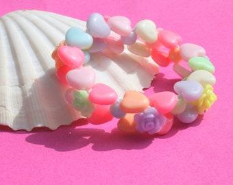 Elastic bracelet child hearts and roses
