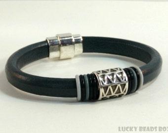 Womens leather bracelet bracelet bangle womens bracelet licorice leather bracelet gray leather bracelet magnetic clasp LLB-55-04