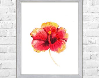 Hibiscus Flower Painting Print, Flower Watercolor painting, Watercolor print, Abstract flower, Flower art, Red flower, Floral print,Wall art