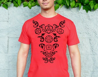 DnD Dice Shirt, Dice and Dragons Shirt, D20 Dice, Valentine's Day Gift for Him, Boyfriend Gift, Husband Gift - High Roller Men's T-shirt