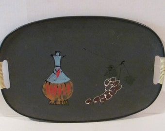 Vintage 60s Hand Painted Serving Tray, Green Tray Wine Bottle & Grapes Motif