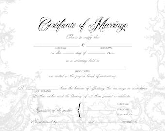 stylish gay wedding certificate