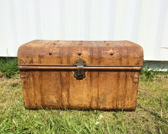 Vintage Antique Metal Steamer Trunk