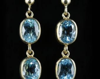 Blue Topaz and Gold Earrings 9ct Yellow Gold 4ct Topaz