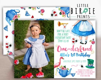 ALICE IN ONEDERLAND Birthday Invitation Alice in Wonderland Invitation Alice in ONEderland first birthday invitation watercolor printable