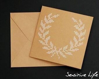 Embroidered postcard - laurel wreath - cross stitch
