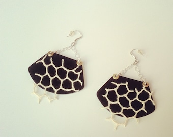 Acrylic and lace earings
