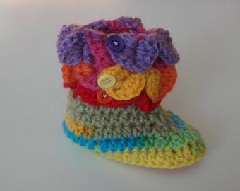 Rainbow Baby Crochet Booties