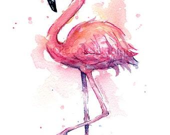 Pink Flamingo Watercolor Painting, Flamingo Art Print, Pink Bird Watercolor Animal Wall Art Home Decor Tropical Pink Flamingo