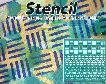 Stencil, Border Stencil, Craft Stencil, Scrapbook Stencil, Wall Stencil, DIY Stencil, Jewelry Stencil, Pattern Stencil, Vinyl, Geometric
