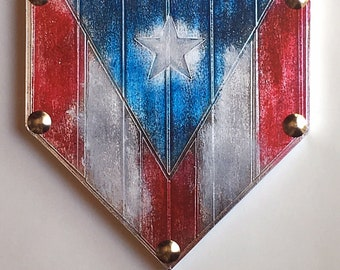 12 x 12 Home Plate Baseball Patriotic Flag Puerto Rico Rican American Softball Original Metal Tape Art Faux Steel Ready To Hang