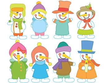 Snowman Digital Clipart Set - Instant Download - Personal and Commercial Use - Winter