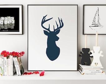 Navy Deer Print, Blue Deer Wall Art, Deer Wall Print, Black Deer Art, Black Wall Prints, Deer Print, Deer Poster