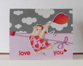 Carte amour - Carte Saint Valentin - Carte double