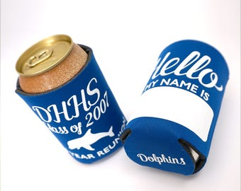 Reunion Party Favors, High School Reunion Decorations, High School Reunion Ideas, High School Reunion, Personalized Can Coolers, Name Tag