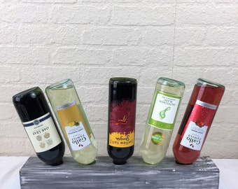 Distressed Charcoal over White Wine Riddling Rack 5 Bottle Wine Rack