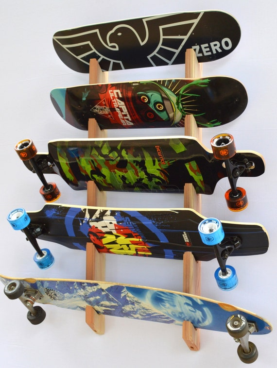 Skateboard Longboard Wall Rack Mount Holds 5 boards