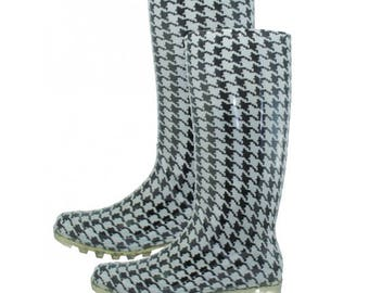 Houndstooth Rain or Snow Boots - Alabama Roll Tide Fan - With or Without vinyl monogram