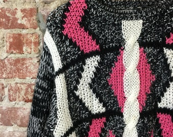 Vintage Sweater 1990's Retro Women's Oversized Cable Knit Pullover Charcoal Black White Pink Printed Sweater