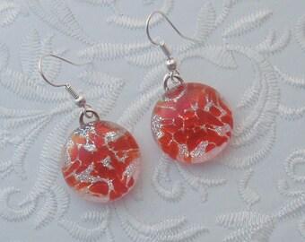 Christmas Earrings - Dichroic Fused Glass Earrings - Dichroic Jewelry - Christmas Ornament - Christmas Jewelry - Red Earrings X1627