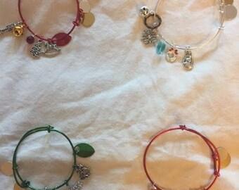 Handmade Wire Christmas Green Bangle Bracelet with charms