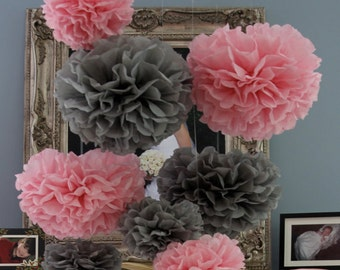 10 Tissue Pom Poms - Your Color Choice- SALE - Pink and Gray Party Decorations