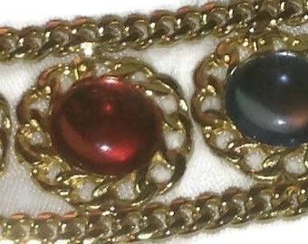 Beautiful Gold Tone Bracelet with Multi Color Stones