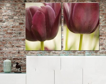 2 piece wall art, floral photography, tulip art, maroon burgundy wall art living room decor, 2 panel wall art, panel canvas modern artwork