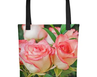 Rose Tote Bag, Beautiful Floral Washable Fabric, Colorful Flowers, Unique, Spring Stylish For Ladies Girls Women, Overnight Handbag Handmade