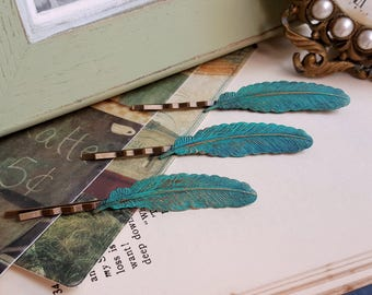 Patina feather hair pin verdigris bobby pin Country chic Vintage inspired hair accessory