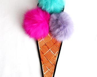 Ice Cream Patch,Fur Balls Sequined Applique, 3 balls Ice cream,Paillette Patch,Sequins Ice Cream Appllique, Patch Supplies for Coat,T-Shirt