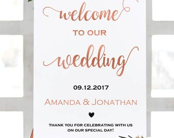 Welcome to our wedding sign - Welcome wedding sign - Printable wedding sign - Downloadable wedding #WDH76419WS7