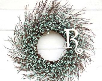 MONOGRAM Wreath-Rustic Twig Wreath-TEAL BLUE Wreath-Monogram Door Wreaths-Initial Wreath-Teal Wedding-Baby Boy Nursery Decor-Choose Scent