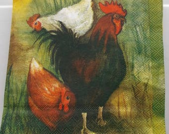 10 napkins ROOSTER and hens REF. 3818