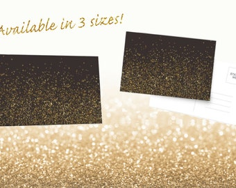 Gold, Glitter, Greeting Card, Blank Card. Postcard, Stationary, Set of Cards, With Envelopes, White, Blank