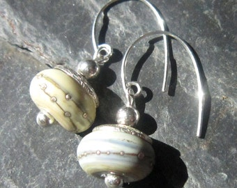 Silver Spotted White Artisan Glass Earrings