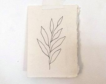 A7 original hand drawn leaf greeting card envelope fine line gift art