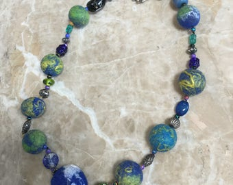 Felted and Vintage Bead Necklace, Jeweled Planets