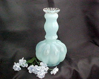 1940s Fenton Blue Overlay Melon Large #192 Vintage Cased Glass Cologne Bottle, Old Colored Vanity Item, Collectible Glass Home Decor Vase