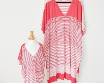 Mommy and Me Striped Kaftan Dress / Top, Boho girls dress, Short Oversized Kaftan Dress, Casual Jersey knit Dress, OOAK, Ready to ship
