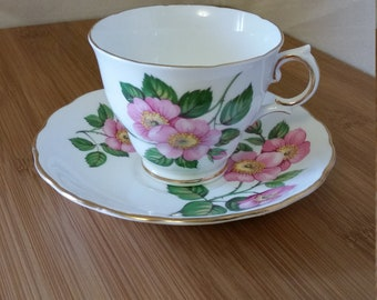 1920 - Royal Vale Bone China - Made in England - Teacup and Saucer - Bone China - Bridal Shower - Shabby Chic Drinkware