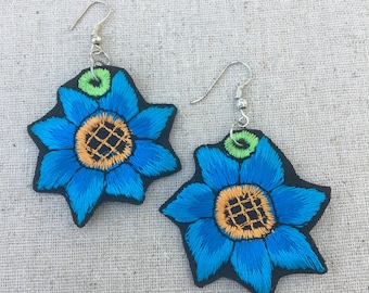 Blue Flower Embroidered Earrings